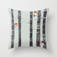 Robin Trees Throw Pillow