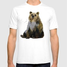 Bear Relaxing Mens Fitted Tee White SMALL