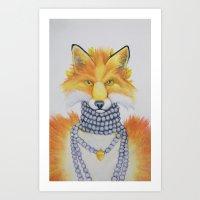 Fox Fur And Pearls Art Print
