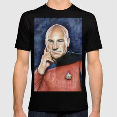 Captain Picard Portrait Mens Fitted Tee Black SMALL