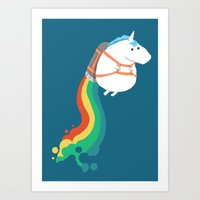 rainbow Art Prints featuring Fat Unicorn on Rainbow Jetpack by Picomodi