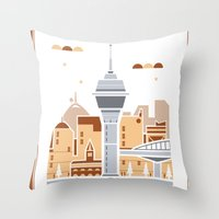 City Illustrations (Auckland, New Zealand) Throw Pillow