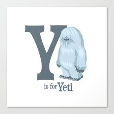 Y is for Yeti Canvas Print