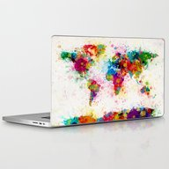 Map Of The World Map Pai… Laptop & iPad Skin