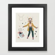 Framed Art Print featuring Taurus by LordofMasks