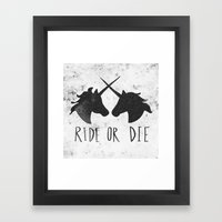 Ride or Die x Unicorns Framed Art Print