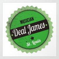 Deal James, Round Sticker Green Art Print