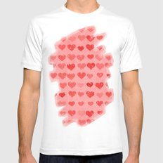 Pink Valentines Love Hearts White Mens Fitted Tee SMALL