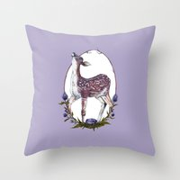 Fawn and Thistle Throw Pillow