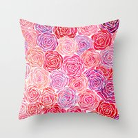 Watercolour Roses Throw Pillow