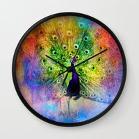 Jazzy Peacock Colorful Bird Art by Jai Johnson Wall Clock