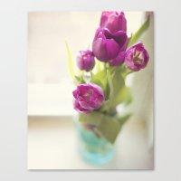 Purple Tulips In A Jar Canvas Print