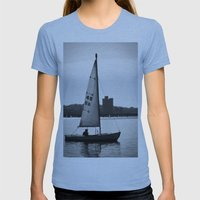 Sailboat Womens Fitted Tee Athletic Blue SMALL