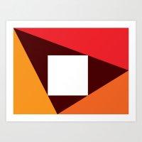 Orange & Red Triangles W… Art Print