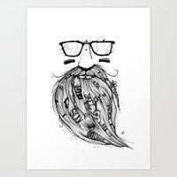 Beard Me Some Music (Bla… Art Print