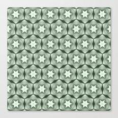 Sepia Green and White Stars Canvas Print