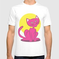 Magenta Cat Mens Fitted Tee White SMALL