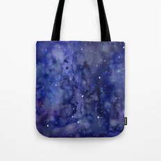 Night Sky Galaxy Stars | Watercolor Space Texture Tote Bag