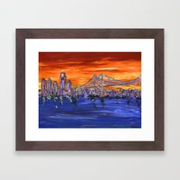 Ben Franklin Bridge Suns… Framed Art Print