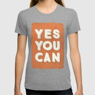 YES YOU CAN Womens Fitted Tee Tri-Grey SMALL