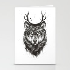 Deer wolf (b&w) Stationery Cards