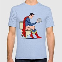Superhero On Toilet Mens Fitted Tee Tri-Blue SMALL