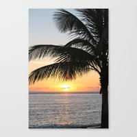 Sunrise And Palm Tree Canvas Print