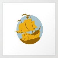 sailing ship galleon retro Art Print