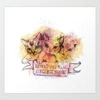 Kittens Are Girl's Best … Art Print