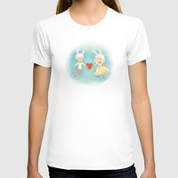 Bunny Hearts Womens Fitted Tee White SMALL