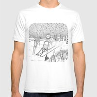 Kick-sledding Fox Mens Fitted Tee White SMALL