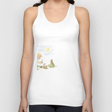 Beginning, Nature, Boy Planting A Seedling, Youth Illustration Unisex Tank Top