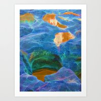 Abstract beautiful rock pools in the late afternoon Art Print