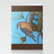 Robin With Nest In Georg… Stationery Cards
