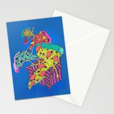 Pizza Eating Pizza - Blue Edition Stationery Cards