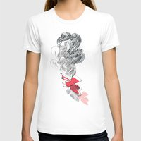 in red Womens Fitted Tee White SMALL