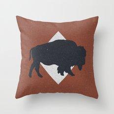 Bison & Blue Throw Pillow