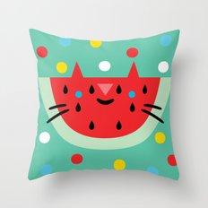 Watermelon Cat Throw Pillow