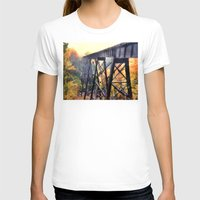 Upper Peninsula Train Trestle Womens Fitted Tee White SMALL