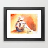 SUNSET AQUARELLE Framed Art Print