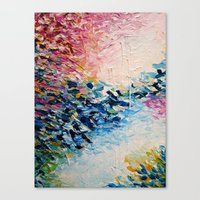 PARADISE DREAMING Colorful Pastel Abstract Art Painting Textural Pink Blue Tropical Brushstrokes Canvas Print