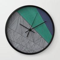 Black, Turquois, Dark Blue Wall Clock