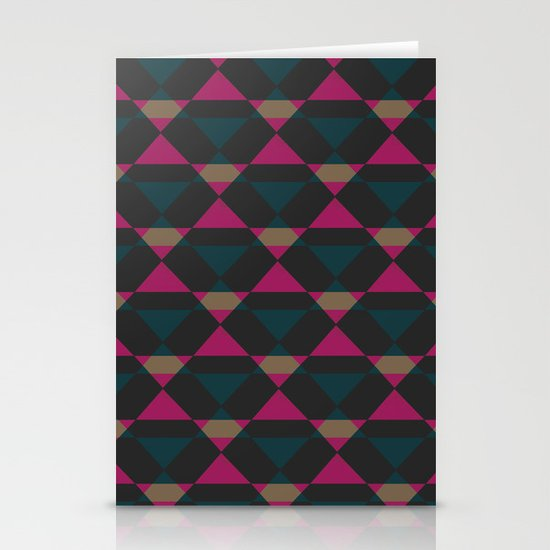 Retro Triangles - Blue & Pink Stationery Card