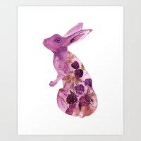 Fruit Bunny With Blackbe… Art Print