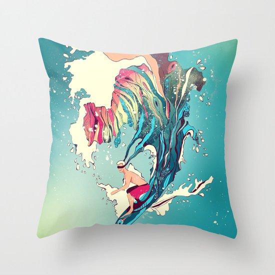 Blind Surfer Throw Pillow