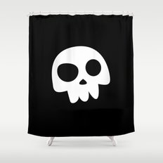Skull Head logo with Three Teeth | Bones, white, pirates, symbolism, mortality, death, Halloween Shower Curtain