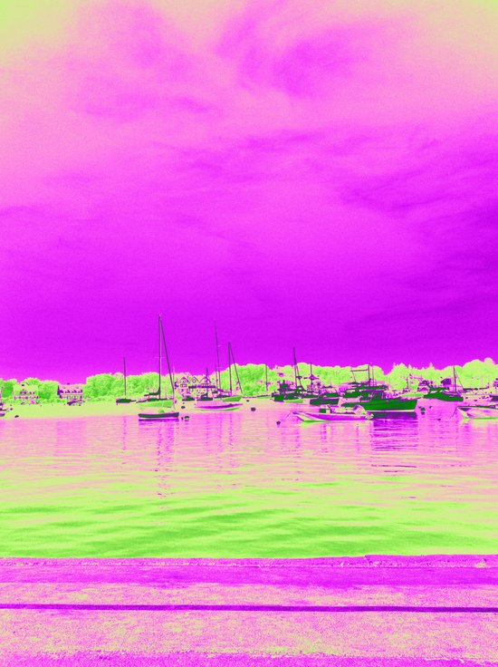 Green Pink Sea with Ships Art Print