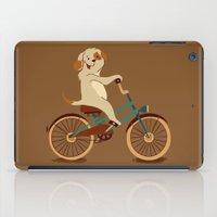 Puppy on the bike iPad Case