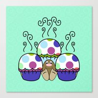 Cute Monster With Pink And Blue Polkadot Cupcakes Canvas Print