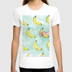 Going Bananas Womens Fitted Tee White SMALL